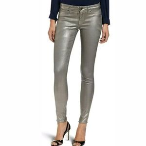Rich & Skinny Metallic Gray Skinny Coated Jeans